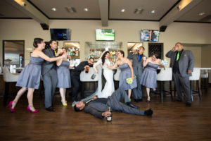 Wedding Party at the Bar | Something New and Blue Photography